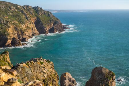 Beautiful view of the ocean and cliffs of Caba da Roca, Portugal