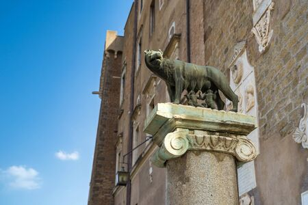 Rome, Italy - 22 June 2019: She-wolf feeding Romulus (the founder of Rome) and Remus: ancient Roman symbol on the Capitoline hill, Piazza del Campidoglio square. Editorial