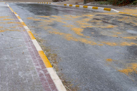 Ice on the road is sprinkled with sand and salt for the safe movement of pedestrians and cars. 스톡 콘텐츠