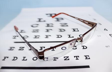 Brillen auf der ophthalmologischen Skala Standard-Bild - 16777383