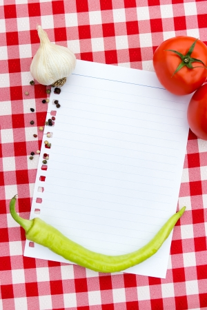 paper for recipes  with vegetables and spices Stock Photo