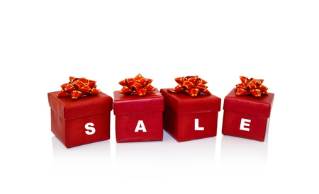 Christmas  red gifts box, concept sale photo