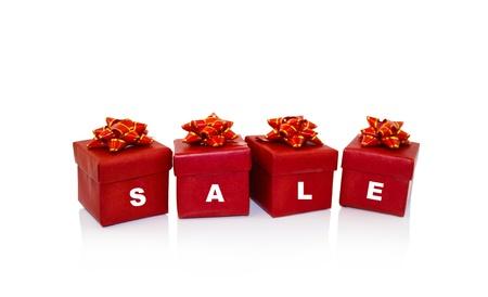 Navidad regalos rojo caja, venta concepto