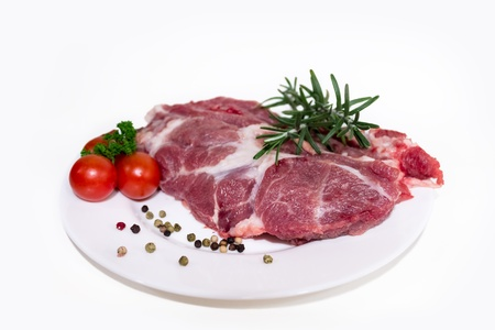 fresh and raw beef steak on plate