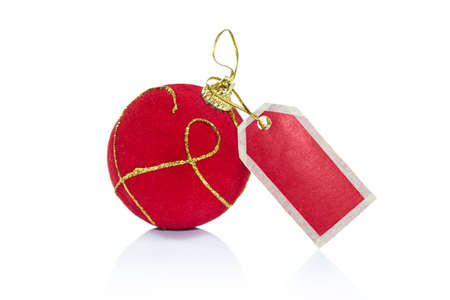 Christmas ball with red label, concept Christmas sale Stock Photo