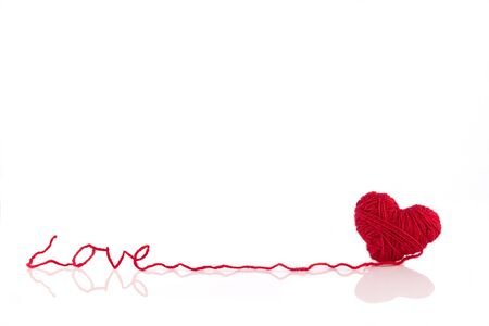 Love hart of red wool Stock Photo