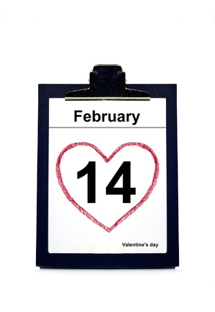 calendar showing the date 14th of February, Valentine's Day