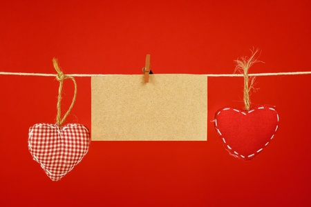 Two fabric heart with blank card