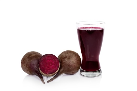 glass of fresh beet vegetable juice isolated on white background  Stock Photo