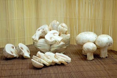 Champignon on wooden background Stock Photo