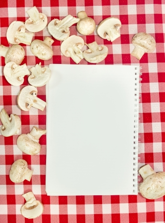 Blank recipes book with mushrooms