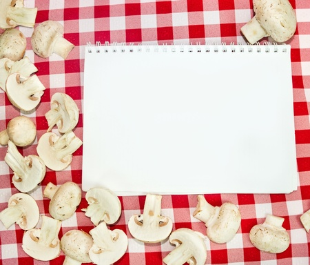 paper for recipes with champignons Stock Photo - 18390843