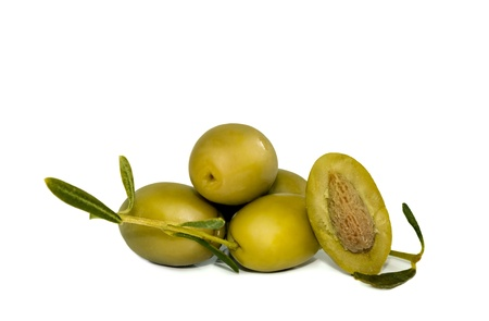 green olives with branch Stock Photo - 18390824