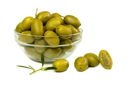 green olives on white background Stock Photo - 18390829
