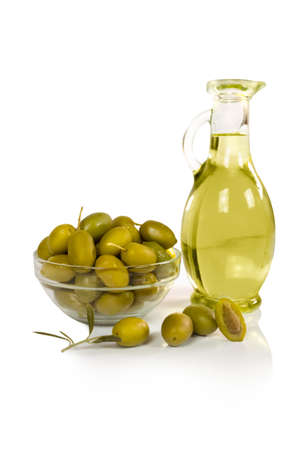 olives and a bottle of olive oil isolated on white Stock Photo - 18390830