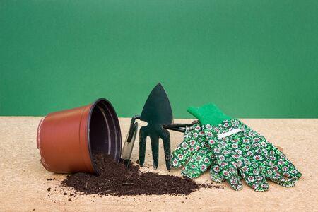 pot with garden tools Stock Photo