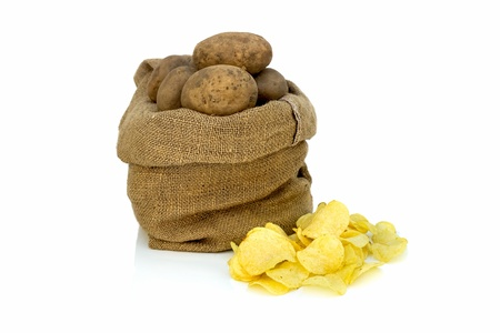 Pile of potato chips with raw potatoes in a sack
