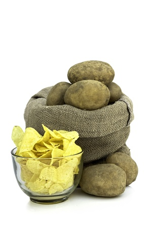 potato chips in a bowl, and fresh potatoes Stock Photo