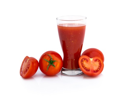 Fresh tomato juice with ripe tomatoes over white background Stock Photo - 19634994