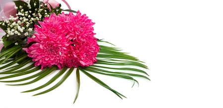 Bouquet of pink flowers over white background  Stock Photo