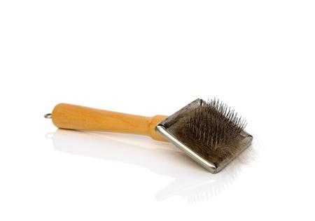 Cepillo para perro o gato con un trozo de piel