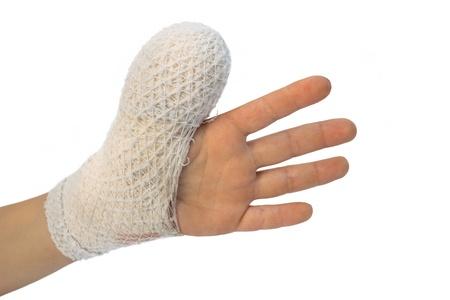 injured arm,  child have bandage on finger