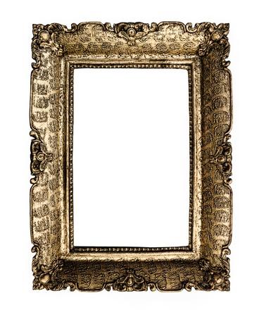 Empty vintage frame isolated on white background Stock Photo