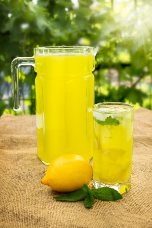homemade citrus lemonade in pitcher and glass with  natural background
