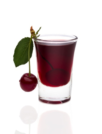 Cherry brandy with fresh cherries photo
