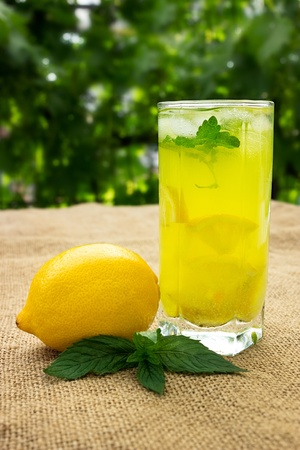 Fresh natural drink, glass of lemonade photo