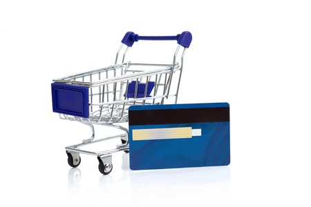 shopping buggy: shopping cart with credit card, internet shopping  Stock Photo