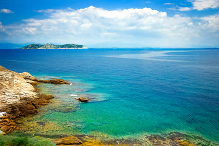 Seascape Blue Paradise in Greek – nature vacations background