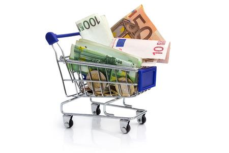 Shopping cart and euros on the white Stock Photo - 23130026
