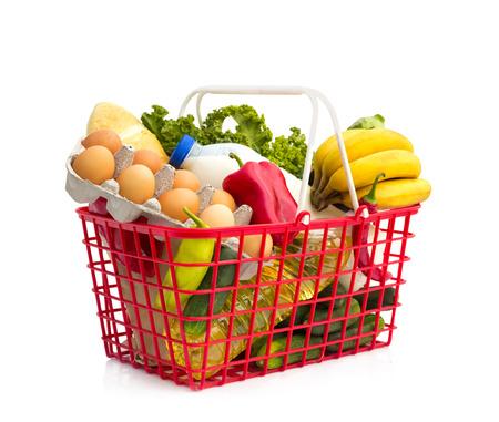 Full shopping basket, isolated over white background  Archivio Fotografico