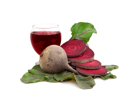raw fresh beetroot and beetroot juice, isolated over white background