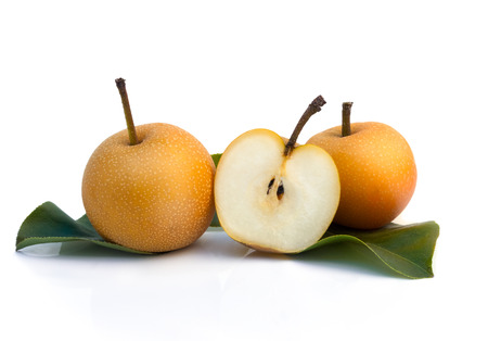 Asian nashi pears, tropic fruit - isolated on white Archivio Fotografico