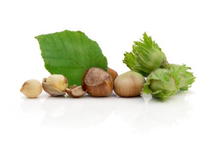 Hazelnuts with green leaf Stock Photo