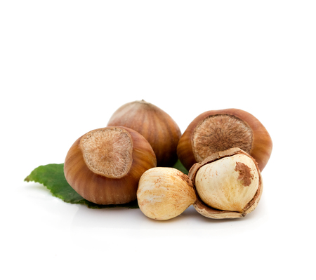 Group of hazelnut over white background