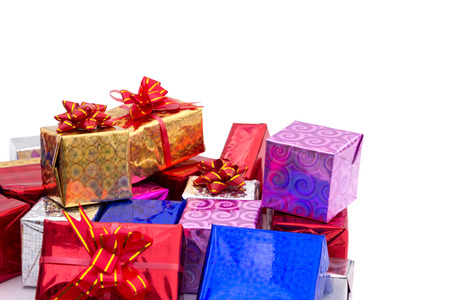 Pile of colorful gifts boxes with red ribbon  photo