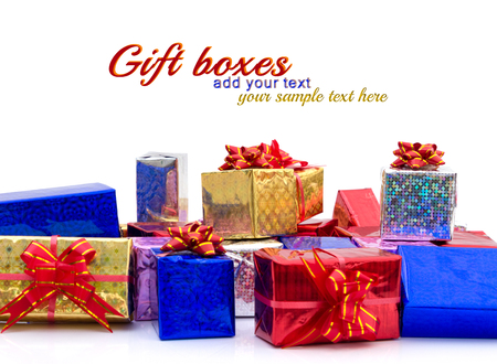 stack of shiny gift boxes, isolated over white Stock Photo