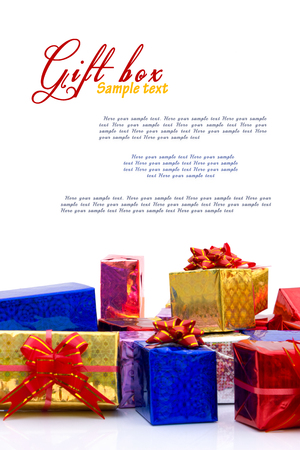 gift boxes with copy space for your text, isolated over white photo