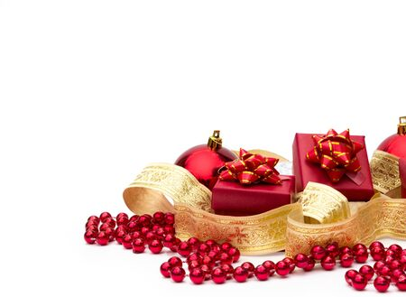 red gift boxes and Christmas decorations
