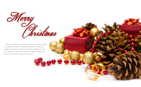 Christmas composition with pinecone, isolated over white background  Stock Photo