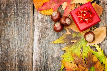 oto�o de fondo con caja de regalo de color rojo, de vacaciones de oto�o Foto de archivo