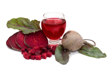 Fresh healthy juice of beet with raw beetroot photo