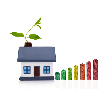 house energy: energy performance scale with a house,  energy efficiency in the home Stock Photo