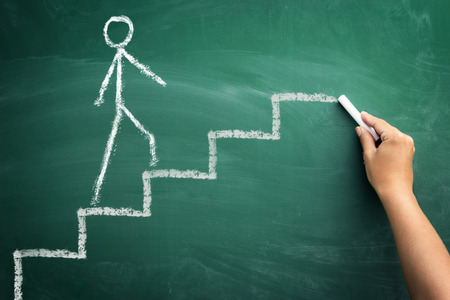 human hand drawing career stairs with chalk on chalkboard