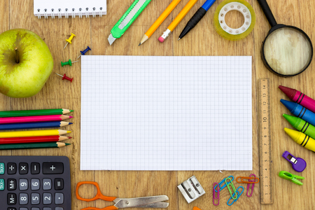 school table: back to school concept on wood background