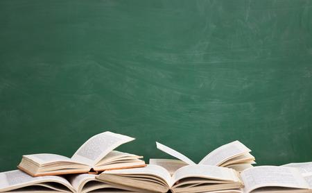 books front empty green blackboard