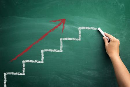 Étape par étape, vers le haut, les progrès concept d'entreprise